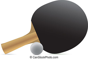 Ping-pong racket and ball. Vector illustration.