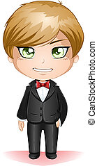 Groom Dressed In Black Suite - A vector illustration of a...