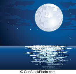 Vector moonlit path on the sea