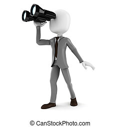 3d man businessman holding a binocular searching for opportunities in business