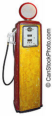Gas pump - Old red yellow gas pump isolated on a white...