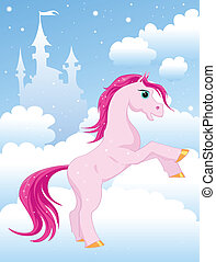 magic pink horse on a cloud near the Castle