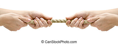 Tug of War - Rope pulling Isolated on a white background