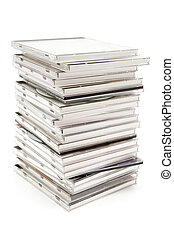 Stacked Jewel Cases - Stacked CDs isolated on a white...