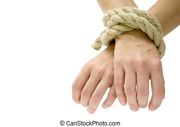 Got U - Hands tied. Isolated on a white background.