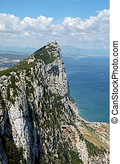 The Rock, Gibraltar, UK. - Elevated view of The Rock and...