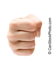 Aggression - Female fist isolated on a white background.
