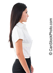 Side view of beautiful Asian young woman standing on white...