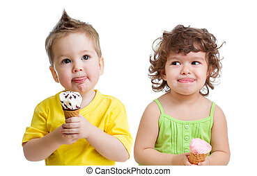 kids with cone ice cream isolated on white