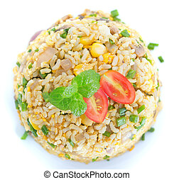 Chinese egg fried rice overview from dining table