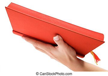 Holding a Red Bible