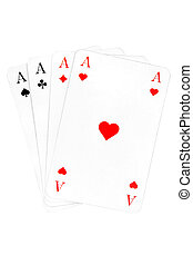 Four Aces - Playing cards isolated on a white background.