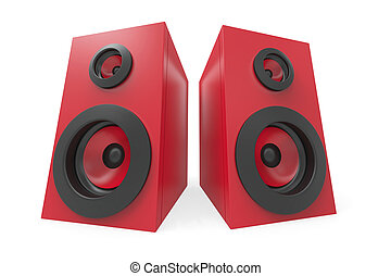 Stereo speakers - Red stereo speakers on white background