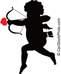 Amour silhouette - Amour with bow and arrow vector...