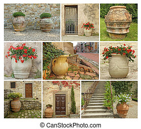collage with old style garden pottery, images from Tuscany,...