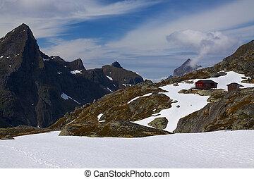 Mountain hut - Scenic mountain hut Munkebu on Lofoten...