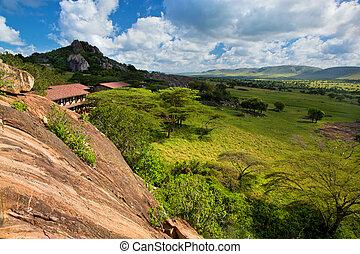 Tourist lodgy on savanna in Tanzania, Africa - Savanna...