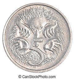 centavos, australiano, moneda, cinco