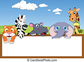 Animal Zoo With Blank Sign - Vector Illustration Of Animal...