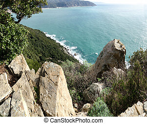 panoramic Punta Manara - overview of a stretch of coast in...