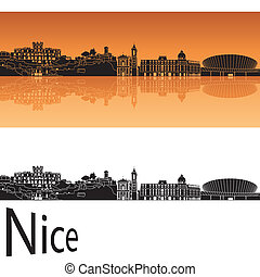 Nice skyline in orange background in editable vector file