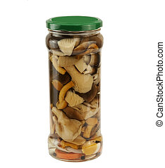 variety of mushrooms in a glass jar - variety of preserved...