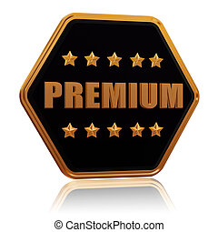 premium five star hexagon button - premium - 3d black golden...