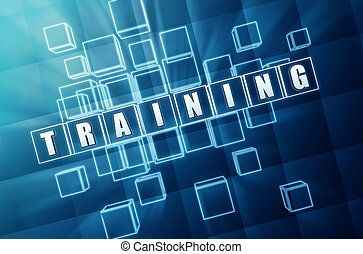 training in blue glass blocks