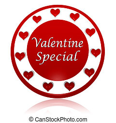 valentine special red circle banner with hearts symbols - 3d...