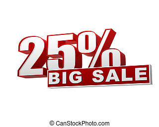 25 percentages big sale red white banner - letters and block...