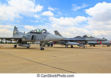 BANGKOK - JULY 2: JAS 39 Gripen on display at 1912-2012...