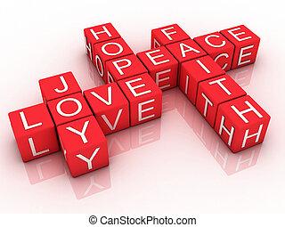 3D words of faith, hope and love