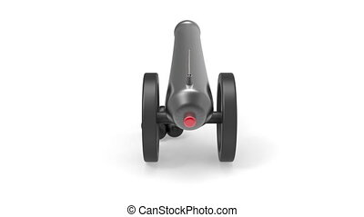 Cannon with black bombs rotates on white background