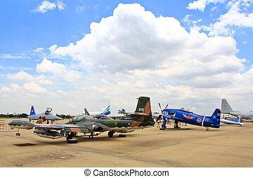 BANGKOK, THAILAND - JULY 02: Fighter aircraft on display at...