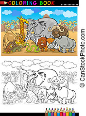 safari wild animals cartoon for coloring book - Cartoon...