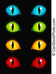 Cat eyes - illustration of glowing in dark cat eyes in...