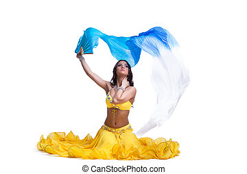 Brunette young woman performing arabic dance Isolated on...