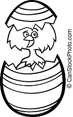 chicken in easter egg cartoon for coloring