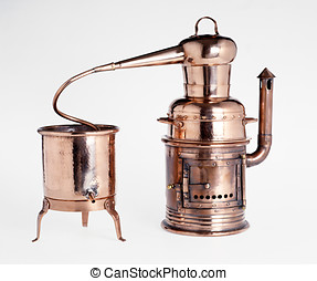 Vintage silver alembic, a dual vessel for the distillation...
