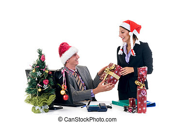 Christmas in office - Christmas in the office, businessman...