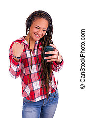 Beautiful African American woman sending a sms on cell phone