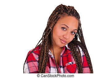 bonito, jovem, africano, americano, mulher, longo, pretas,...