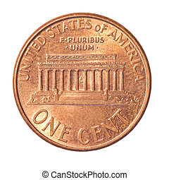 American one Cent coin isolated on white background