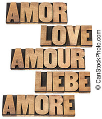 love word in 5 languages English, Spanish, German, French...