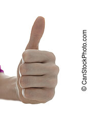 Front view of a female hand showing a thumbs up sign