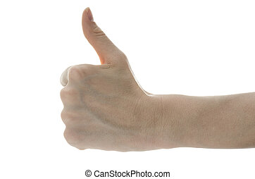Side view of a female hand showing thumbs up sign