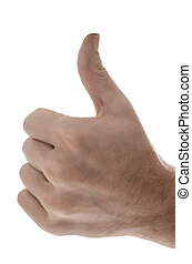 Side view of a male hand showing a thumbs up