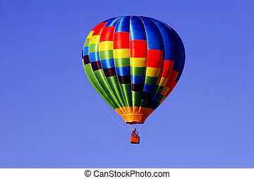 Hot Air Balloon - Colorful hot air balloon against a bright...