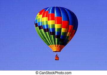 Hot Air Balloon - Colorful hot air balloon against a bright...