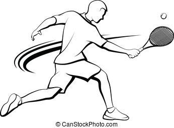 Male Tennis Player - Black and white stylized vector...